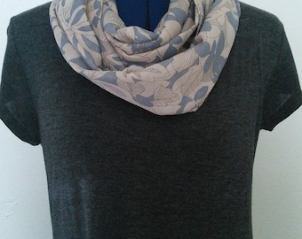 Gray and Cream Floral - Infinity Scarf