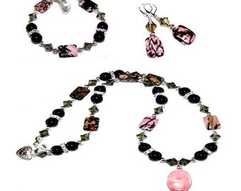 Rhondolite Earring/Bracelet/Necklace Jewelry Collection