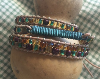 Triple wrap leather & glass beaded bracelet with metal insert