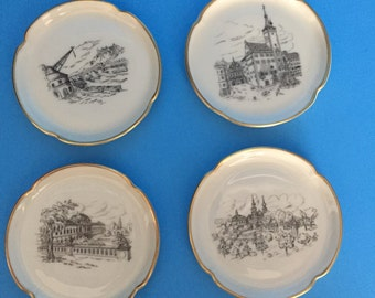Rosenthal 4 Small Porcelain Plates with Gold Rims; Different Vintage Buildings,Made in Germany; Vintage