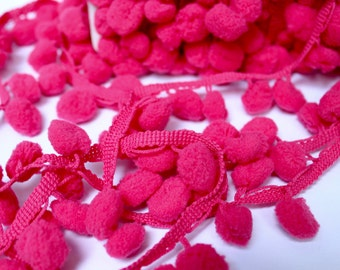 "HOT PINK ""Regular"" PomPom Trim, Ball Fringe - 3 Yard Increments"