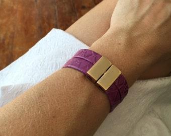 Leather Bracelet, Statement Bracelet, Leather Bracelet, Lilac Bracelet, Cuff Bracelet, Purple Bracelet, Purple Leather Bracelet,
