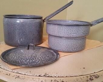 Beautiful Vintage gray/grey and white Enamelware Graniteware Double Boiler - Gettysburg
