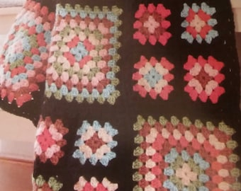 Handmade Crocheted Granny Square Afghan