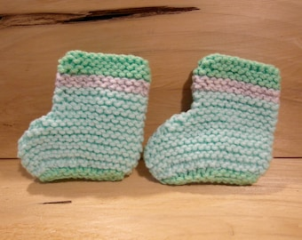 Baby Booties, mint green and grey