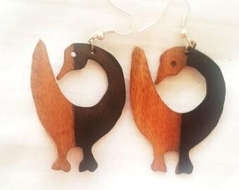 """Wooden Adinkra """"Sankofa"""" Earrings"""