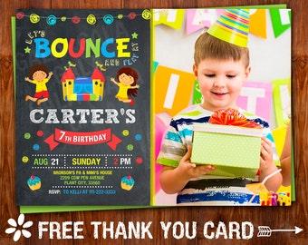 Bounce Invitation, Bounce House Invitation, Jump House Invitation, Bounce House Birthday Party, Bounce House Thank You Card, Bounce Invite.