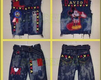 Boys Mickey Mouse denim set