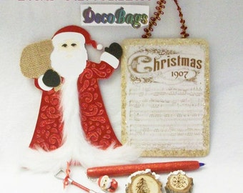 Red Christmas Deco Bag of the month club subscriptions include pens magnets window decor switch plate covers earrings pins