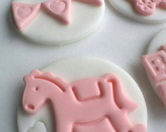 12 edible baby shower cupcake toppers