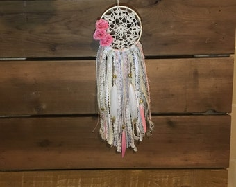 Small vintage pink doily dream catcher, car dreamcatcher, nursery dreamcatcher, shabby chic decor, Dream Catcher, lace doily dreamcatcher
