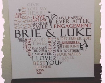 Personalised Engagement Canvas Unique Gift Framed 30x30cm Wedding Anniversary Heart Shaped Word Art Typography Wall wordArt