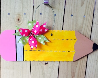 On sale!!,Pencil door hanger,back to school,teacher gift,pencil wreath