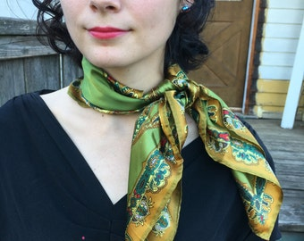 Vintage Silk Scarf in Olive Green