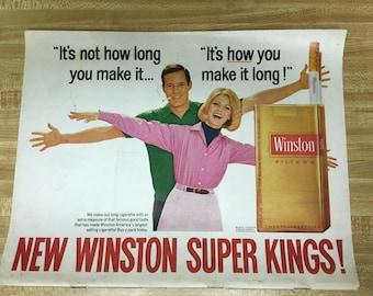 Winston Vintage Ad- Back page ad- 1967