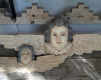 Set of 2 Handcarved Wooden Cherubs