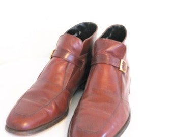 Vintage Hipster Florsheim Imperial Monk Strap Ankle Boots 10