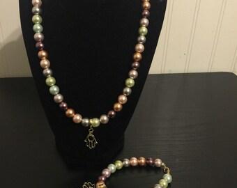 Multi-Color Pearl Hamsa Necklace and Bracelet Set