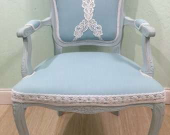 Shabby Chic Cottage Aqua Chair with handmade fancywork , beautiful details distressed  carved aqua frame