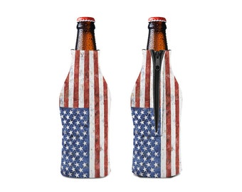 American Flag Zipper Style Beer Bottle Coozies / bottle beverage insulator , Cozies   (KB-104)