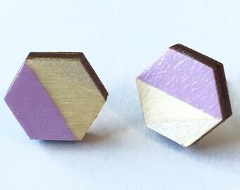 Hexagon Hand Painted Wood Earrings