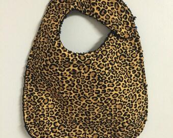 Handmade infant cheetah bib