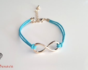 Bracelet with Infinity pendant turquoise / gold