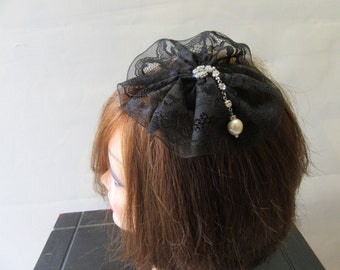 black  lace yarmulka with Swarovski crystal flower  handmade with love , Kippah for Women