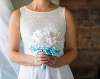 Blue Wedding Bouquet - Ready To Ship - White Rose Bouquet - Bridal Bouquet - Blue Bouquet - Something Blue - Bridesmaid Bouquet - Rhinestone