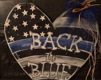 Back the Blue Door Hanger,  Heart Door Hanger, Police Lives Matter