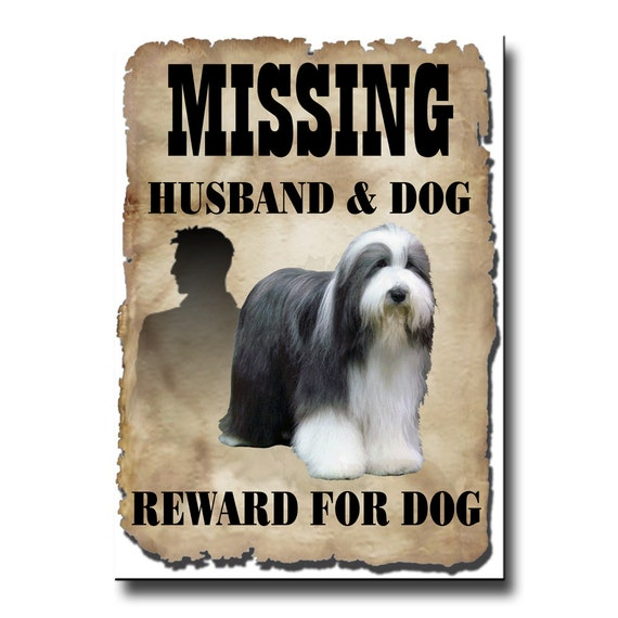 Bearded Collie Husband Missing Reward Fridge Magnet