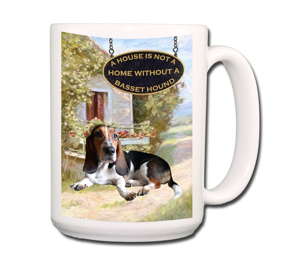 Basset Hound a House is Not a Home Large 15 oz Ceramic Coffee Mug No 2