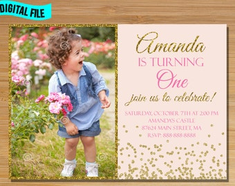 Pink and Gold Conffeti First Birthday Invitation, Pink Blush Invitation Invite, First Birthday Photo Invitation for girl, Confetti party