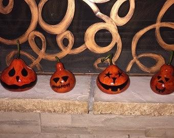 Super Cute Primitive Fall / Halloween Jack O Lantern Pumpkin Gourds - Set of 3