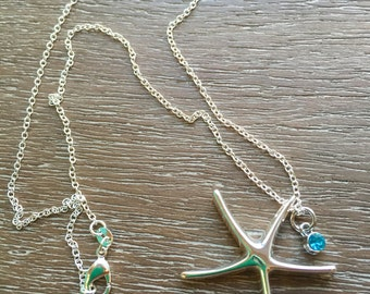 SALE - Starfish Pendant .925 Silver Necklace with Charm