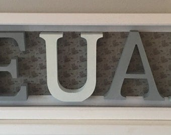 Wooden letters in box frame, decorated and made to order!