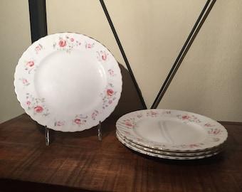 Vintage Royal Adderley Fine Bone China Bouquet Pattern Set of salad/dessert Plates  (set of 4)