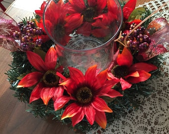 Centerpiece  rust sun flowers  12 inch ring  6  1/2 inch oprning
