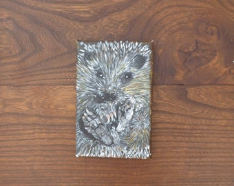 Hedgehog, acrylic on canvas