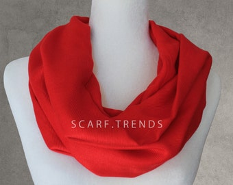 Red Infinity Scarf, Summer Infinity Scarf, Infinity Scarf, Fashion Assessories, Solid Color Scarf, Lightweight Year-round Scarf