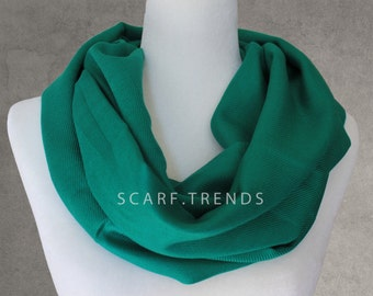 Forest-green Pashmina Scarf, Summer Infinity Scarf, Infinity Scarf, Fashion Assessories, Solid Color Scarf, Lightweight Year-round Scarf