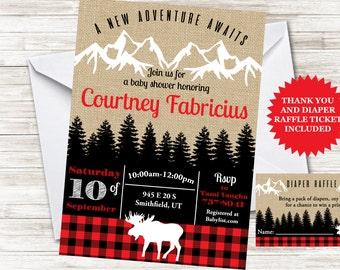 Lumberjack Baby Shower Invite Invitation Sprinkle Adventure Mountain Plaid 5x7 Digital Personalized