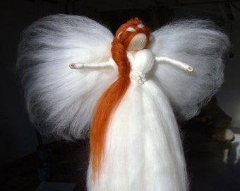 christmas tree topper angel, christmas fairy, christmas angel, heirloom tree topper, red head tree topper, waldorf angels, jade shen fairies