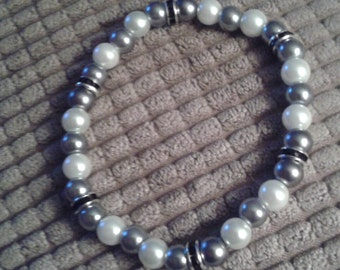 Silver and White Glass Bead Bracelet
