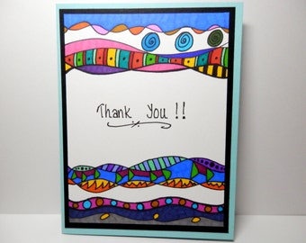 Thank You Card, Greeting Card, Handmade Original Card