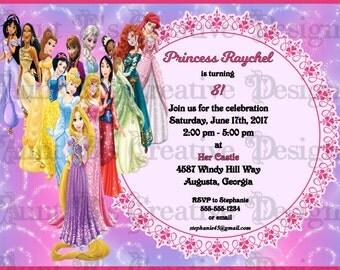 Disney Princess Inspired Birthday Invitation, Disney Inspired Birthday Invitation