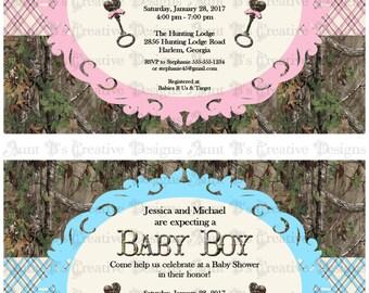 Camo Plaid Baby Shower Invitation, Camo Baby Shower Invitation, Camo Plaid Baby Shower Party Packs
