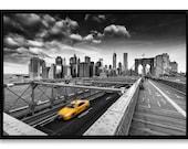 Yellow Cab, New-York City, tirage d'art 60 x 90 cm contrecollé sur Alu-Dibond et monté en caisse américaine