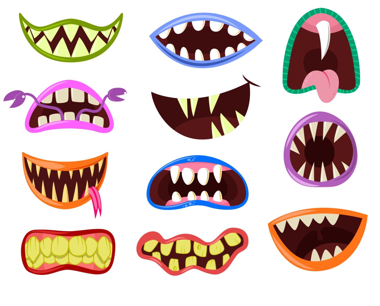 Cute monster clipart | Etsy