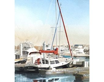 Marina, boat Sale, Print 8.2 x 11.7 in